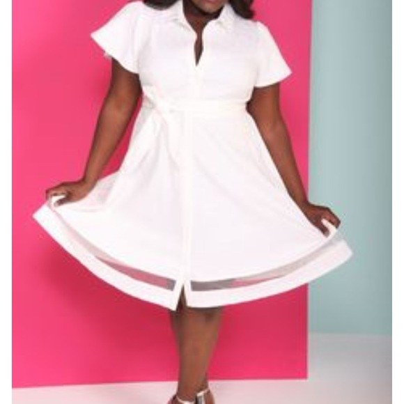 chritian Siriano for Lane Bryant Dresses & Skirts - White belted shirt dress Christian Siriano for LB